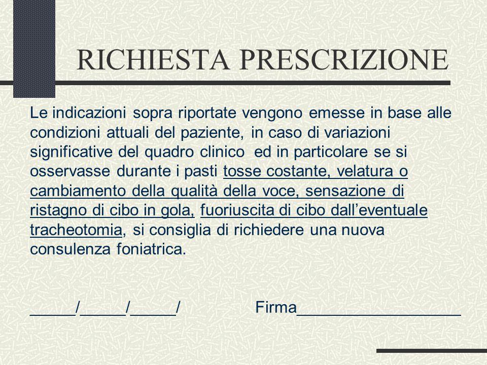 RICHIESTA PRESCRIZIONE