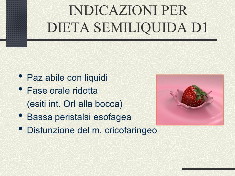 INDICAZIONI PER DIETA SEMILIQUIDA D1