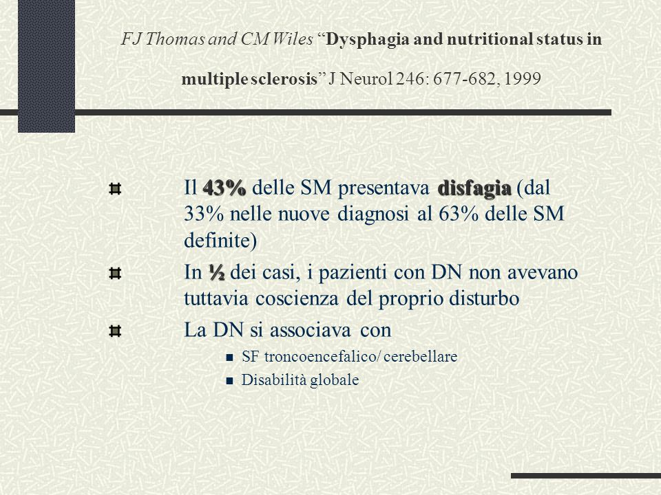 FJ Thomas and CM Wiles Dysphagia and nutritional status in multiple sclerosis J Neurol 246: 677-682, 1999