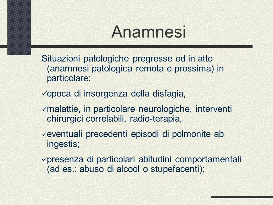 Anamnesi Situazioni patologiche pregresse od in atto (anamnesi patologica remota e prossima) in particolare:
