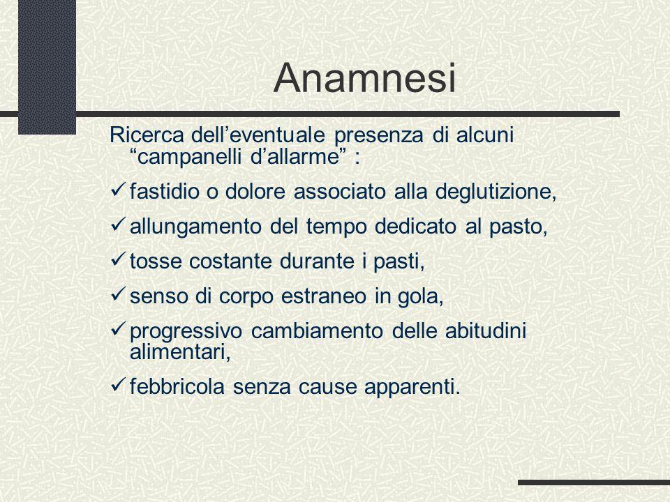 Anamnesi Ricerca dell'eventuale presenza di alcuni campanelli d'allarme : fastidio o dolore associato alla deglutizione,