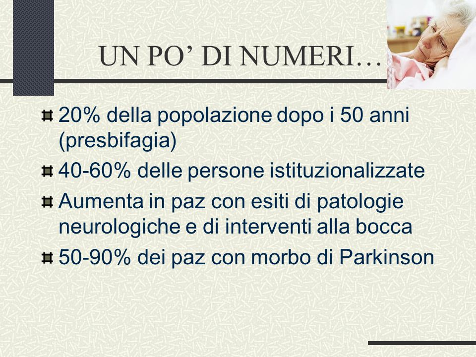 UN PO' DI NUMERI……. 20% della popolazione dopo i 50 anni (presbifagia)