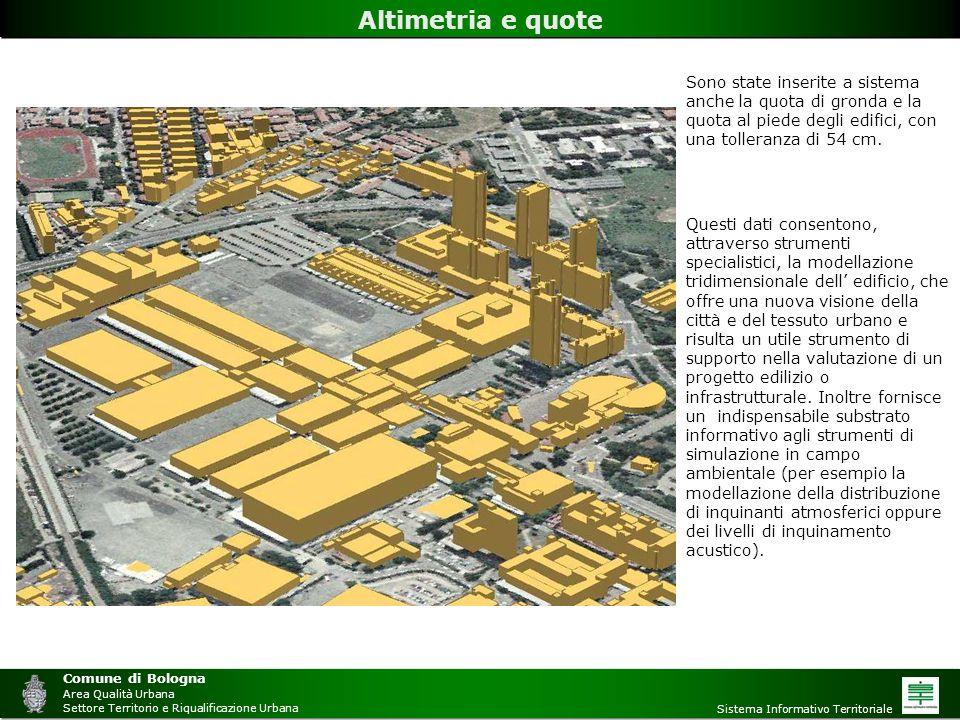Comune di Bologna Area Qualità Urbana. Settore Territorio e Riqualificazione Urbana. Sistema Informativo Territoriale.