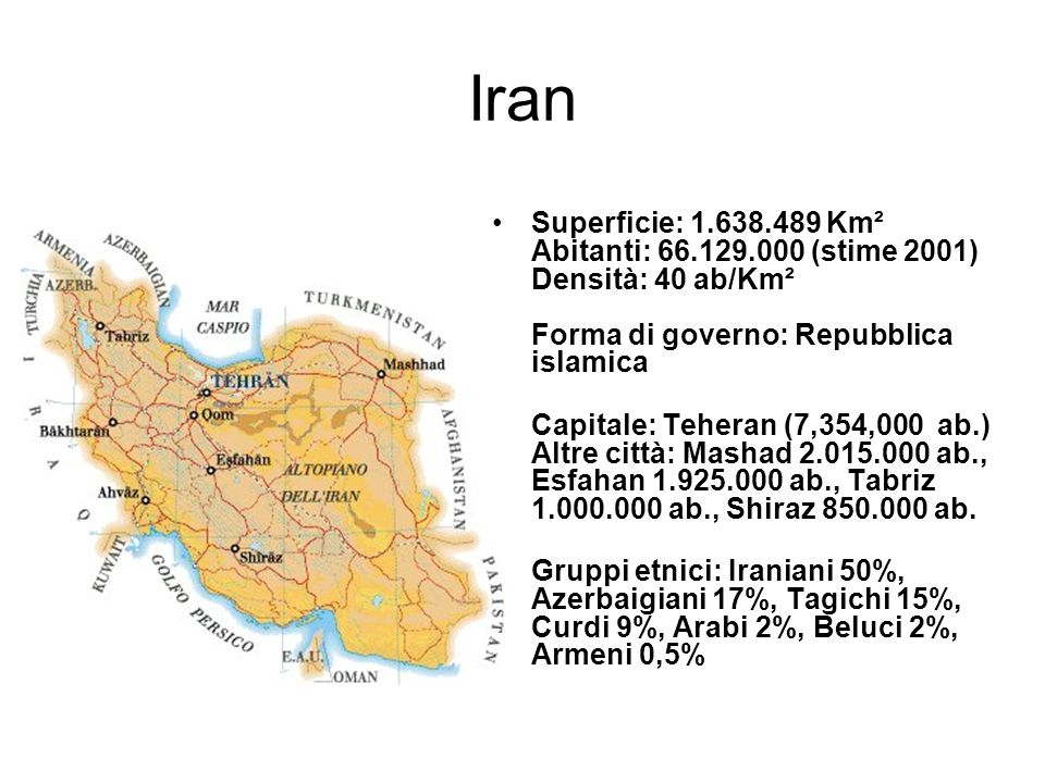 Iran Superficie: 1.638.489 Km² Abitanti: 66.129.000 (stime 2001) Densità: 40 ab/Km² Forma di governo: Repubblica islamica.