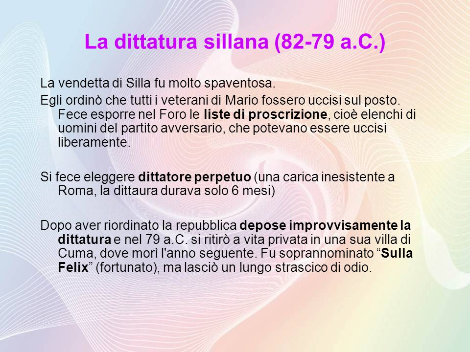 La dittatura sillana (82-79 a.C.)