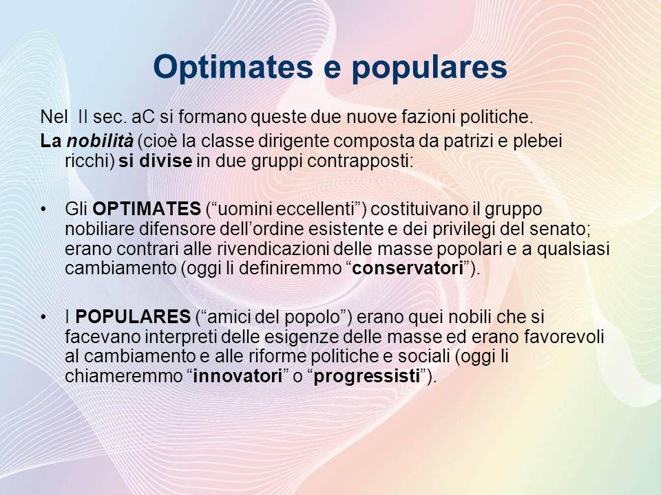 Optimates e populares Nel II sec. aC si formano queste due nuove fazioni politiche.