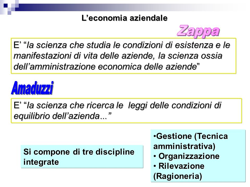 L'economia aziendale Zappa. E' la scienza che studia le condizioni di esistenza e le. manifestazioni di vita delle aziende, la scienza ossia.