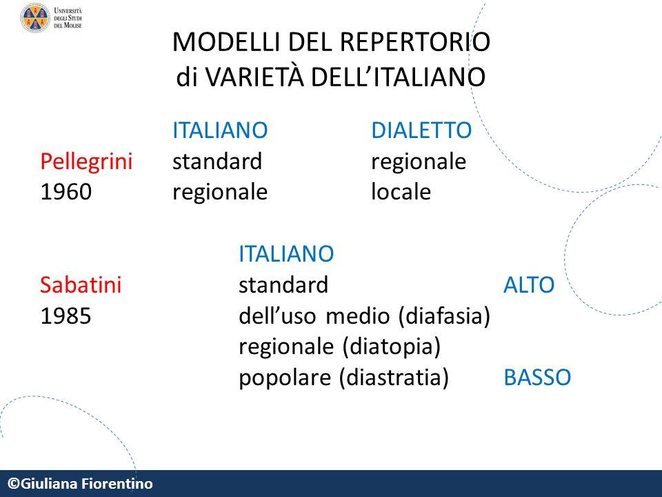 MODELLI DEL REPERTORIO di VARIETÀ DELL'ITALIANO