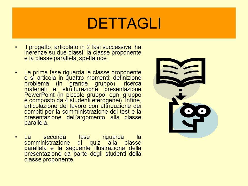 DETTAGLI Il progetto, articolato in 2 fasi successive, ha inerenze su due classi: la classe proponente e la classe parallela, spettatrice.