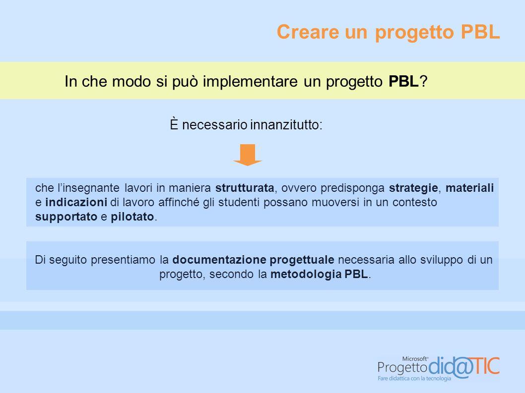 Creare un progetto PBL In che modo si può implementare un progetto PBL È necessario innanzitutto: