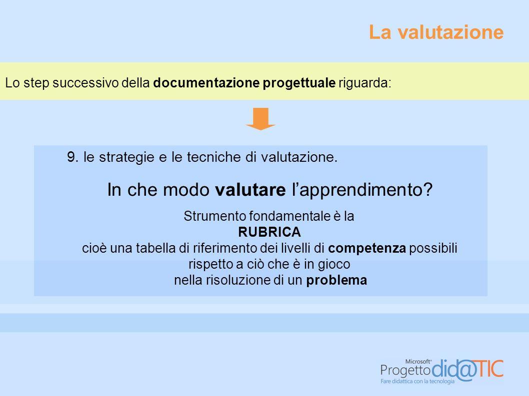 La valutazione In che modo valutare l'apprendimento