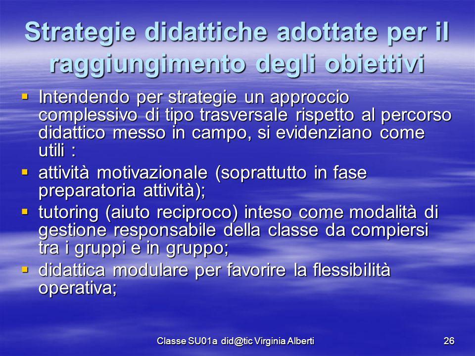 Strategie didattiche adottate per il raggiungimento degli obiettivi