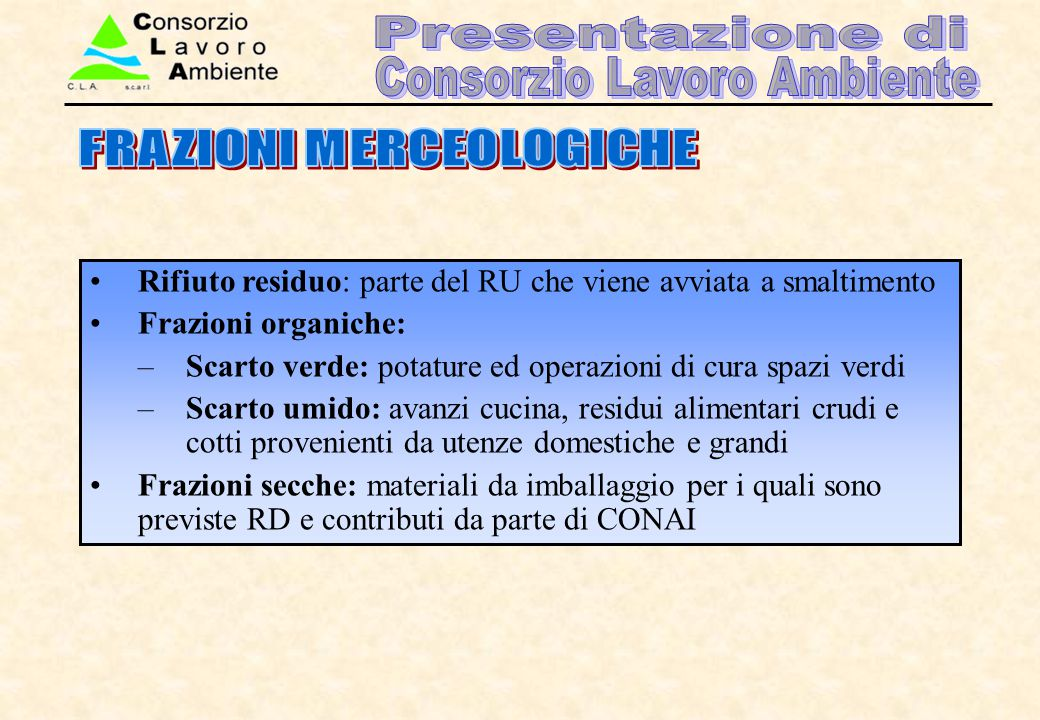 FRAZIONI MERCEOLOGICHE