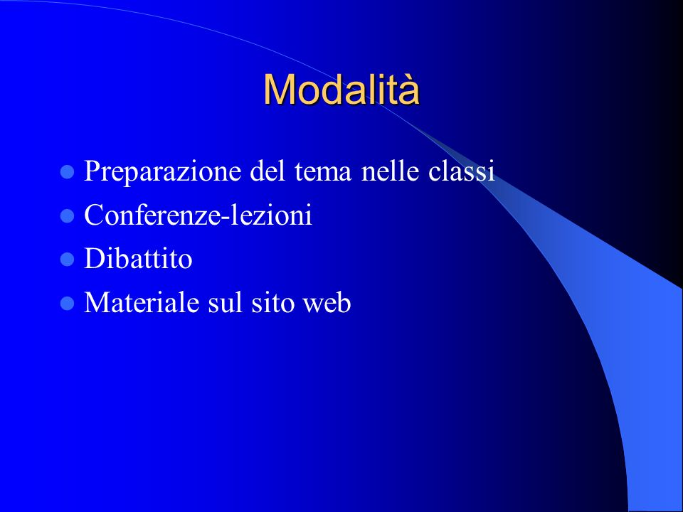 Modalità Preparazione del tema nelle classi Conferenze-lezioni