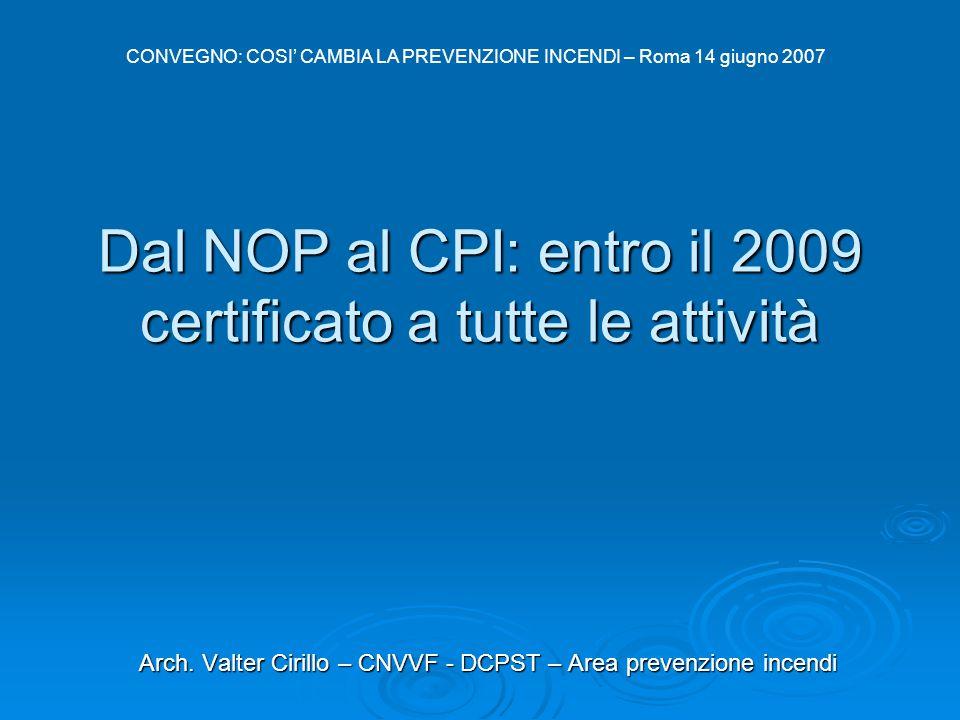 Dal NOP al CPI: entro il 2009 certificato a tutte le attività