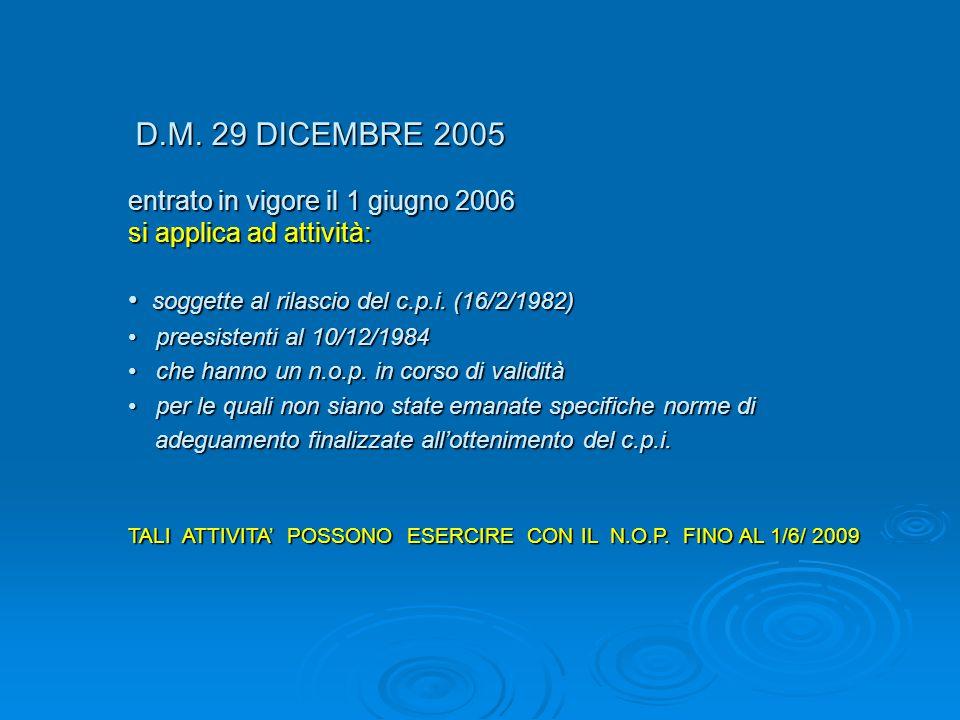 entrato in vigore il 1 giugno 2006 si applica ad attività: