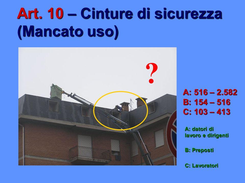 Art. 10 – Cinture di sicurezza (Mancato uso)