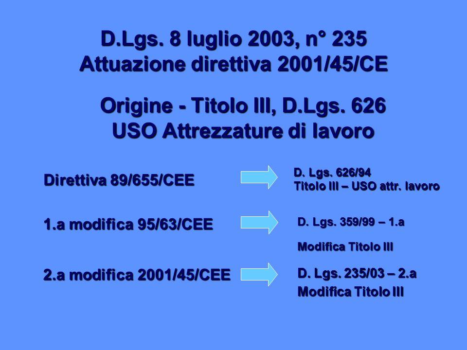 Origine - Titolo III, D.Lgs. 626 USO Attrezzature di lavoro