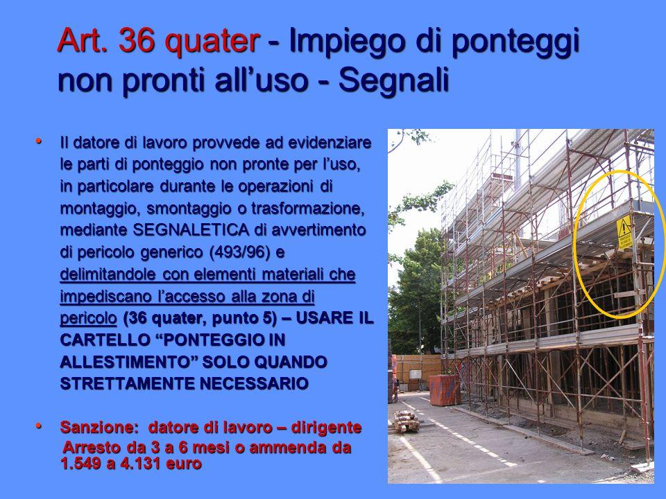 Art. 36 quater - Impiego di ponteggi non pronti all'uso - Segnali