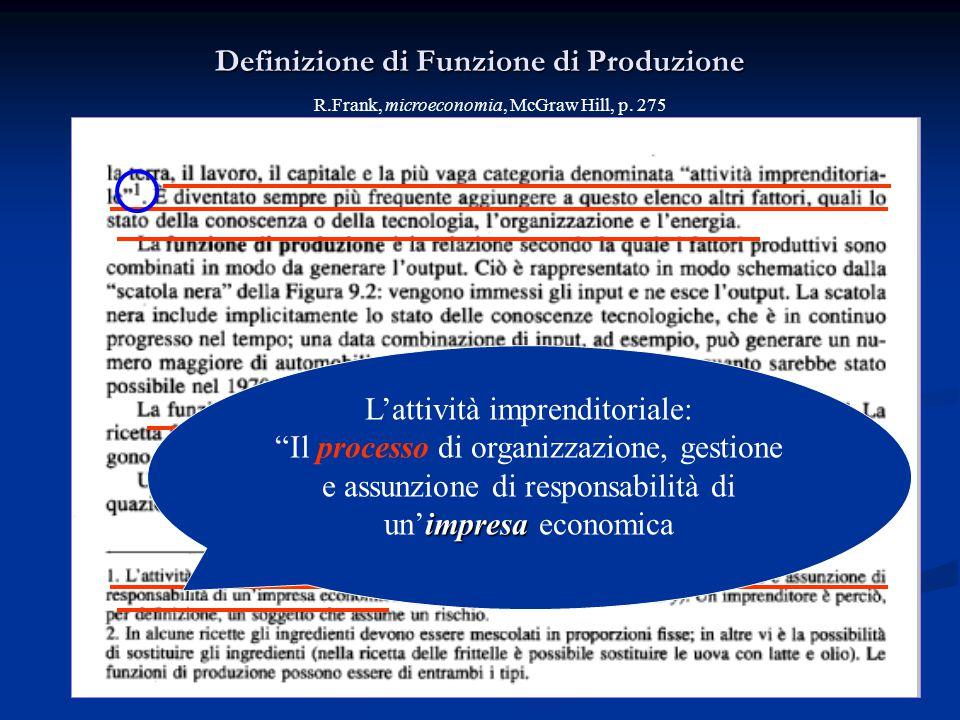 Definizione di Funzione di Produzione