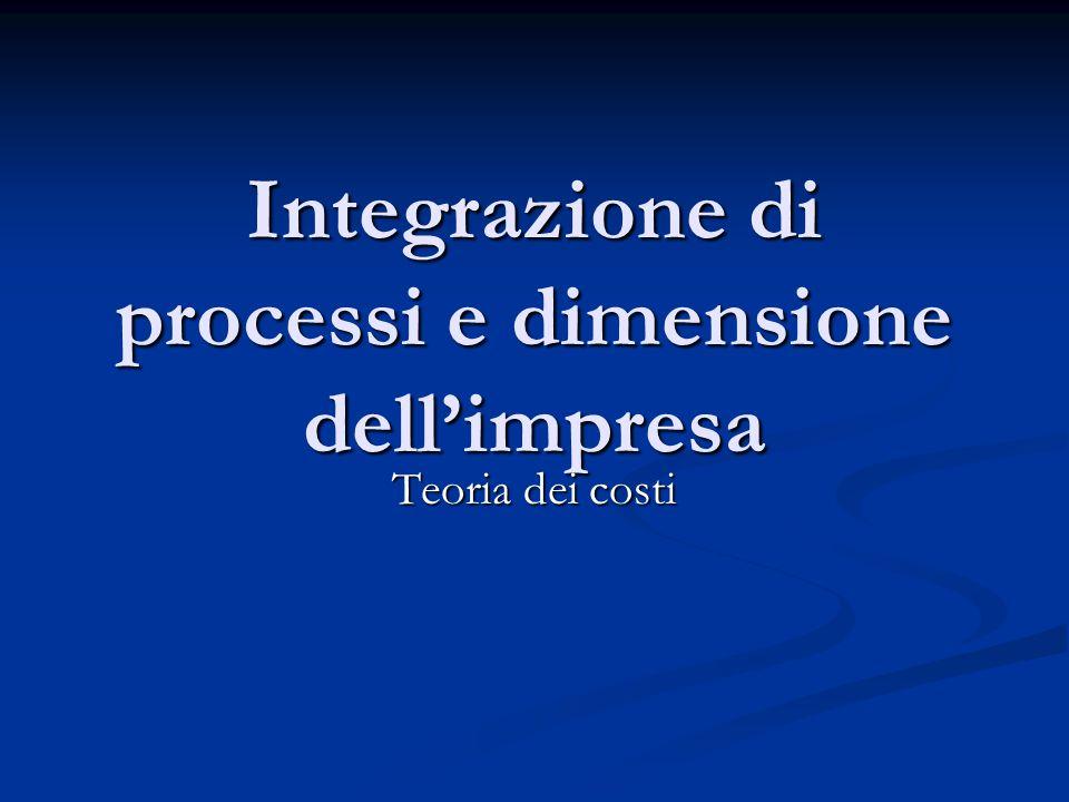 Integrazione di processi e dimensione dell'impresa
