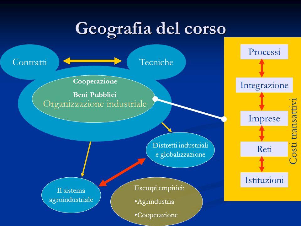 Geografia del corso Costi transattivi Contratti Tecniche Processi