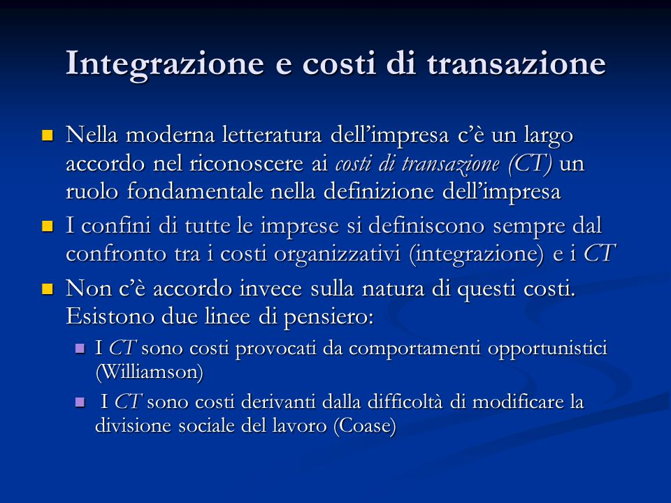 Integrazione e costi di transazione