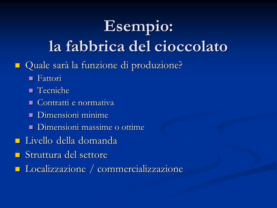 Esempio: la fabbrica del cioccolato