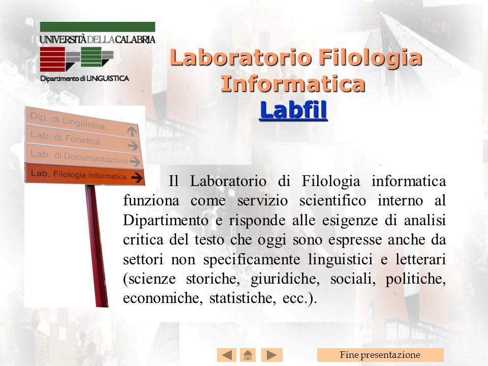 Laboratorio Filologia Informatica Labfil