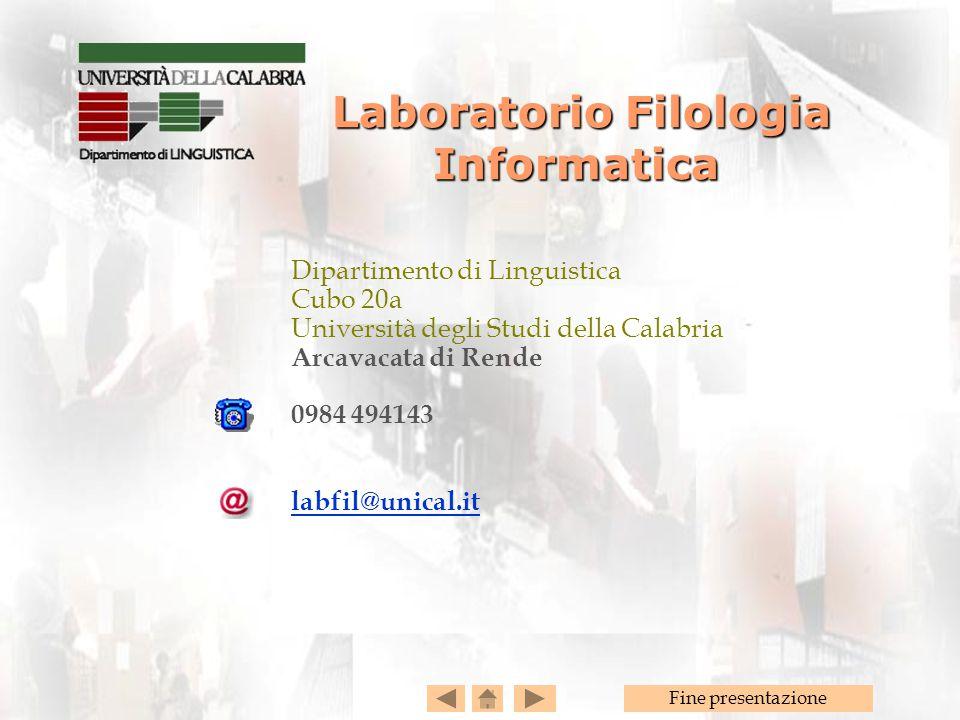 Laboratorio Filologia Informatica