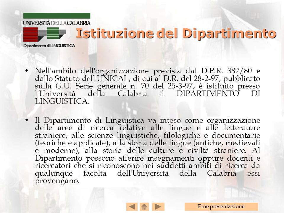 Istituzione del Dipartimento