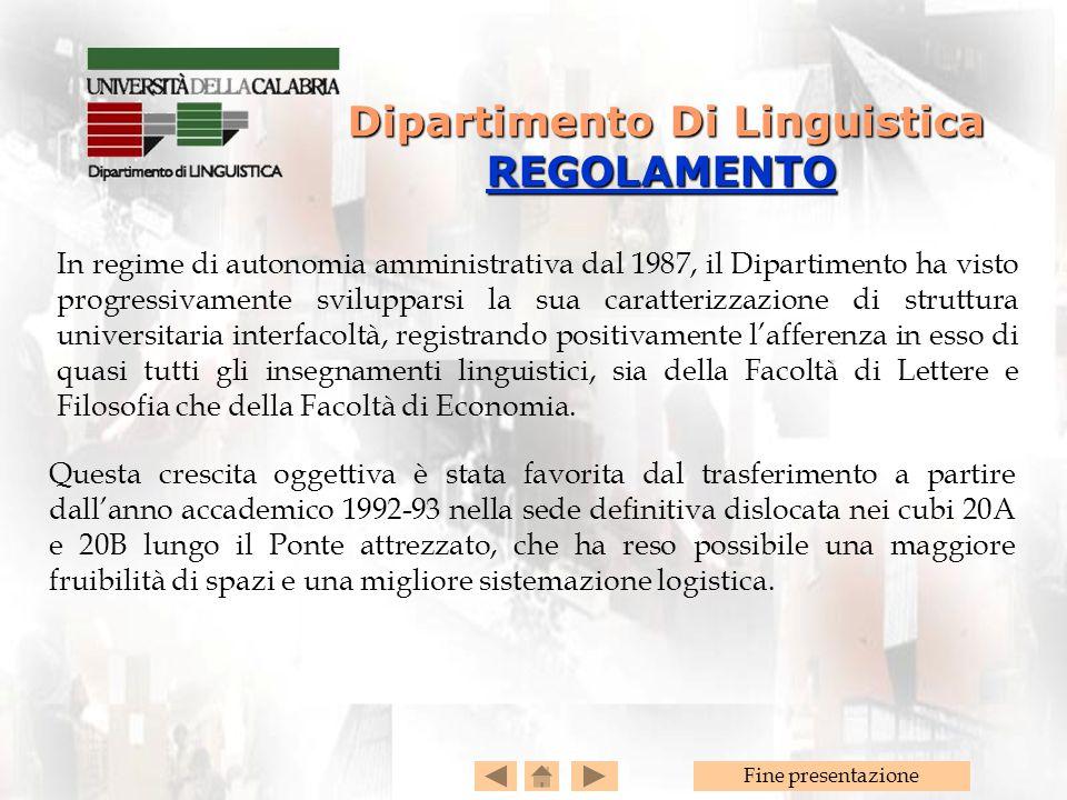 Dipartimento Di Linguistica REGOLAMENTO