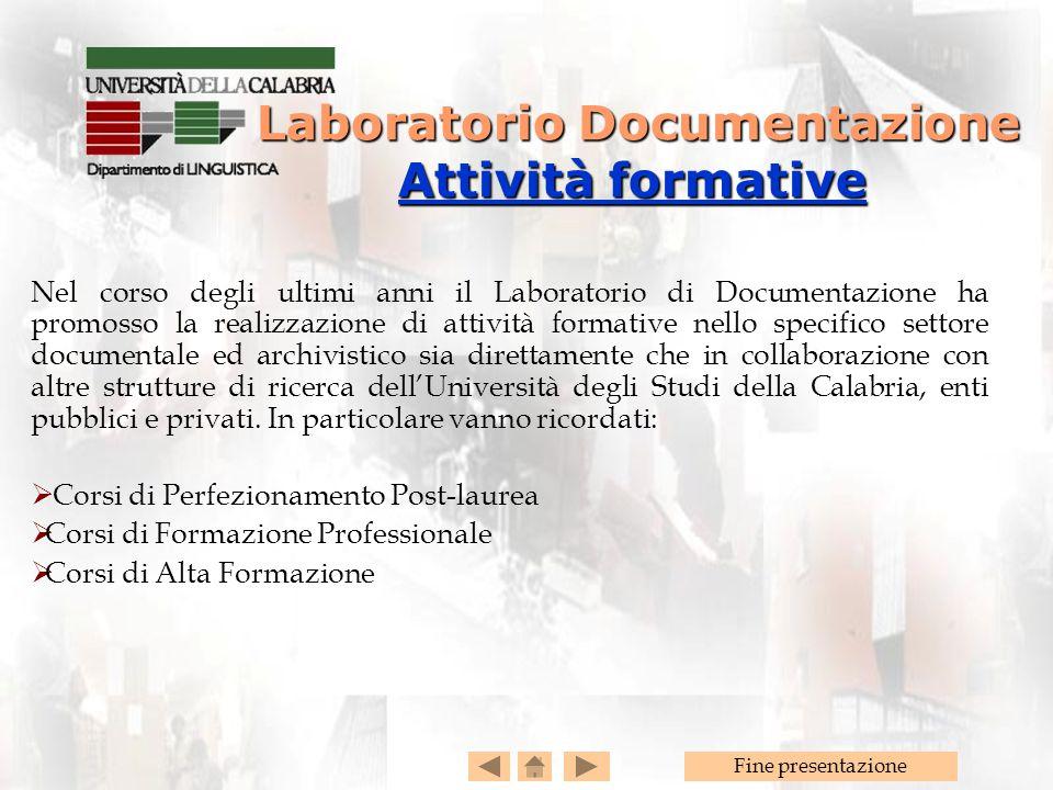 Laboratorio Documentazione Attività formative