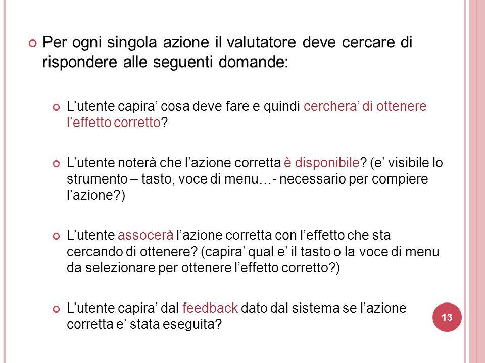 Per ogni singola azione il valutatore deve cercare di rispondere alle seguenti domande: