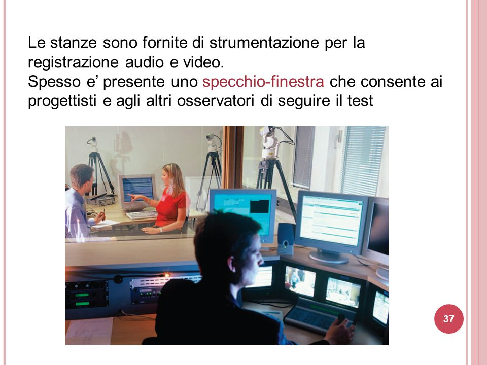 Le stanze sono fornite di strumentazione per la registrazione audio e video.
