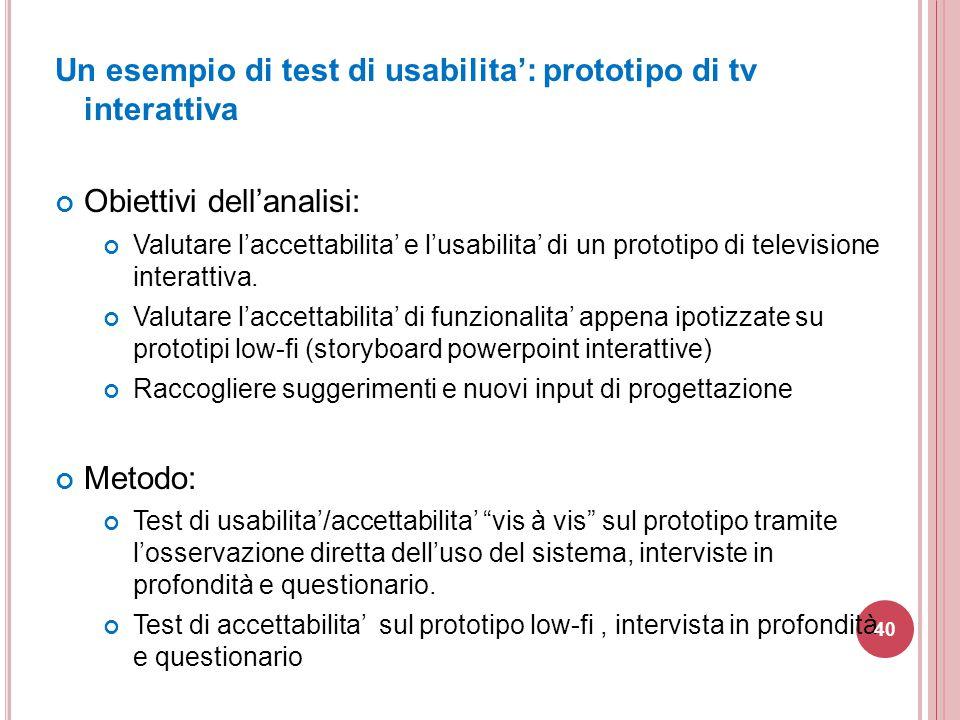 Un esempio di test di usabilita': prototipo di tv interattiva