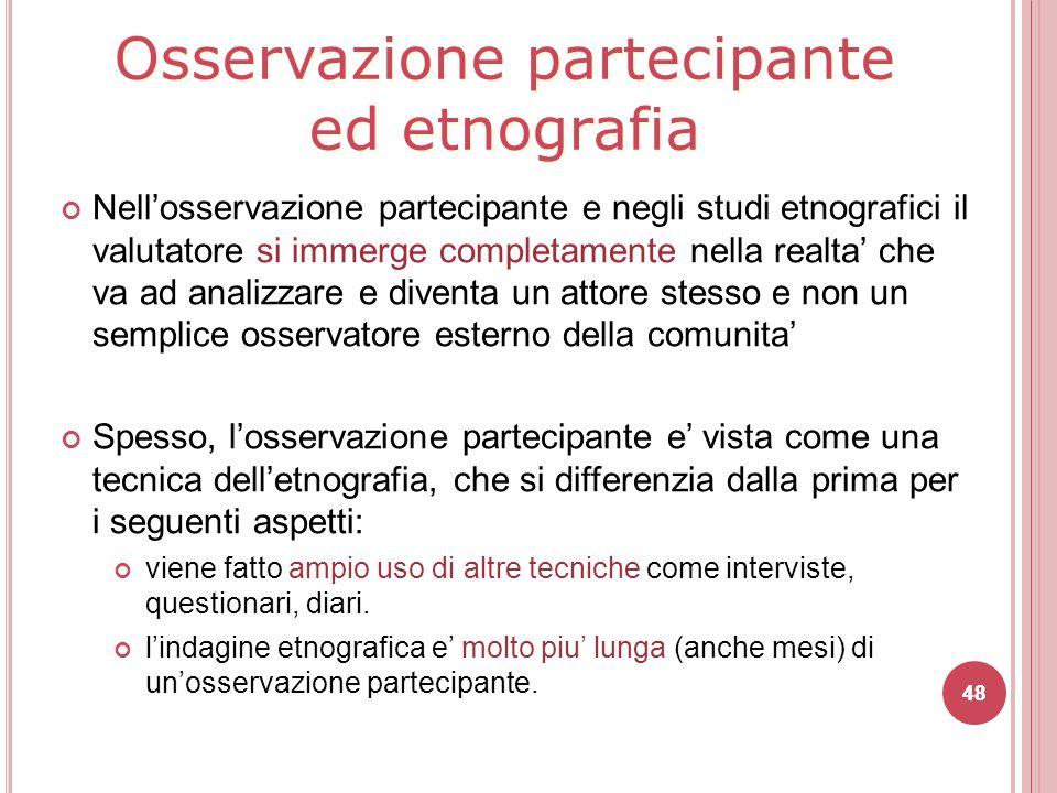 Osservazione partecipante ed etnografia