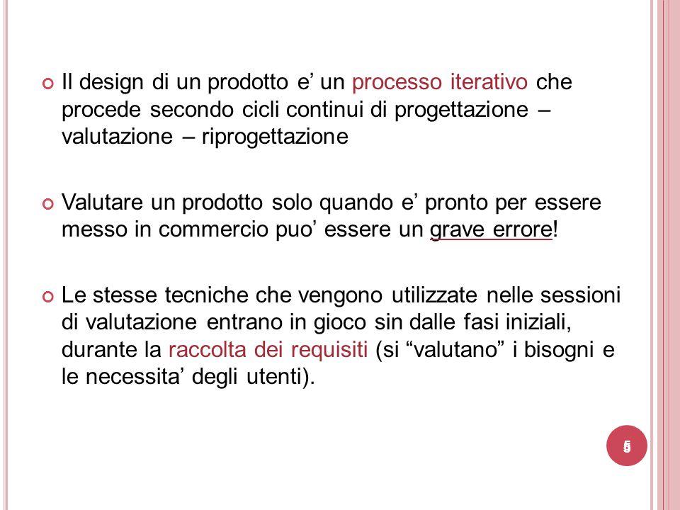 Il design di un prodotto e' un processo iterativo che procede secondo cicli continui di progettazione – valutazione – riprogettazione