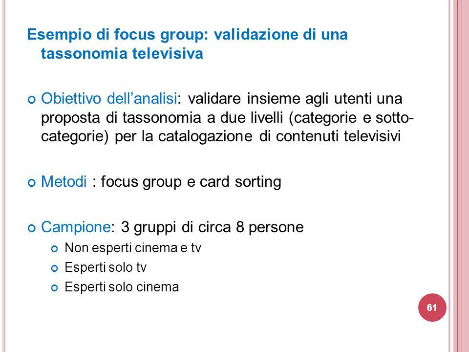 Esempio di focus group: validazione di una tassonomia televisiva