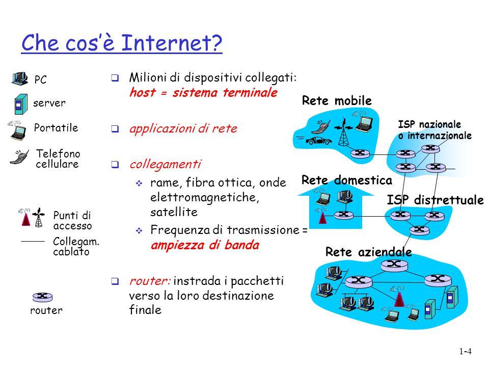 Che cos'è Internet Milioni di dispositivi collegati: host = sistema terminale. applicazioni di rete.