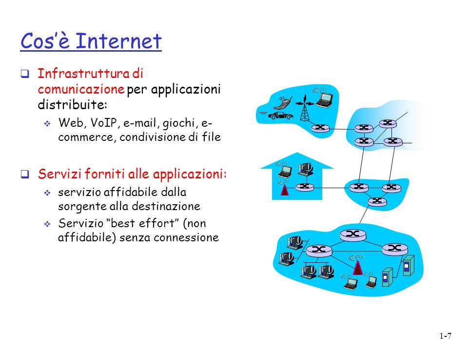 Cos'è Internet Infrastruttura di comunicazione per applicazioni distribuite: Web, VoIP, e-mail, giochi, e- commerce, condivisione di file.