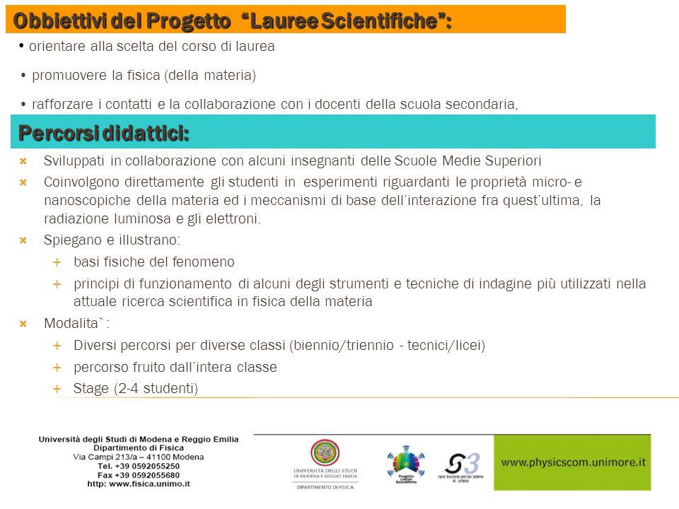 Obbiettivi del Progetto Lauree Scientifiche :