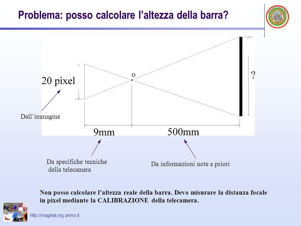 Problema: posso calcolare l'altezza della barra