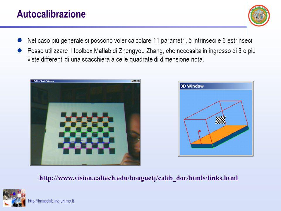 Autocalibrazione Nel caso più generale si possono voler calcolare 11 parametri, 5 intrinseci e 6 estrinseci.