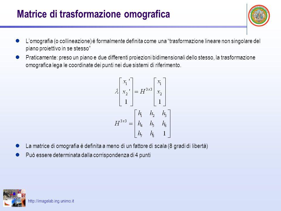 Matrice di trasformazione omografica