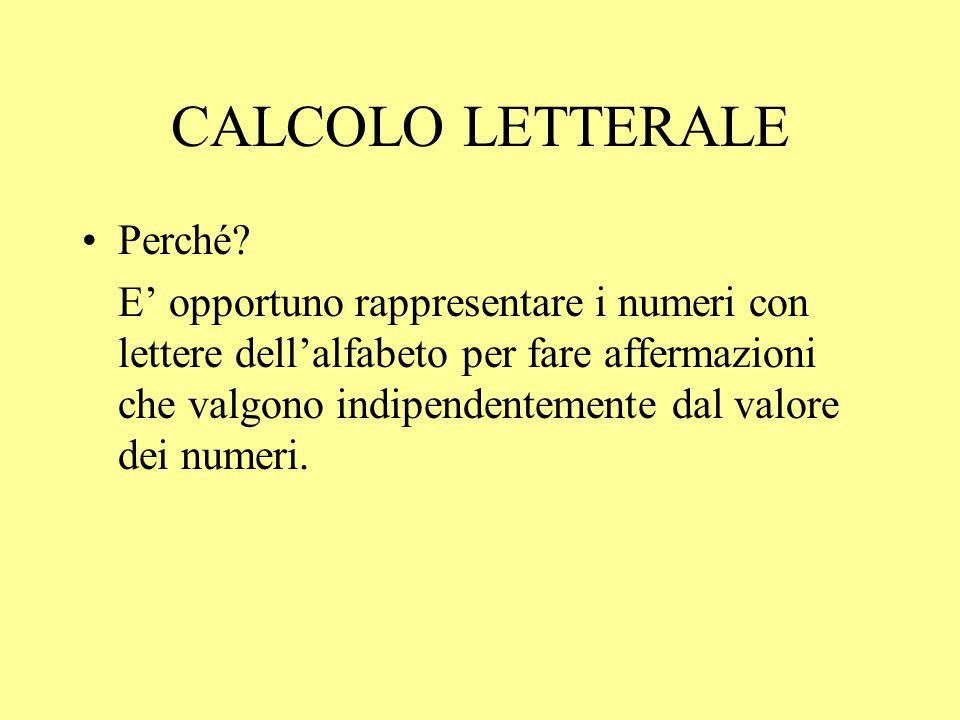CALCOLO LETTERALE Perché