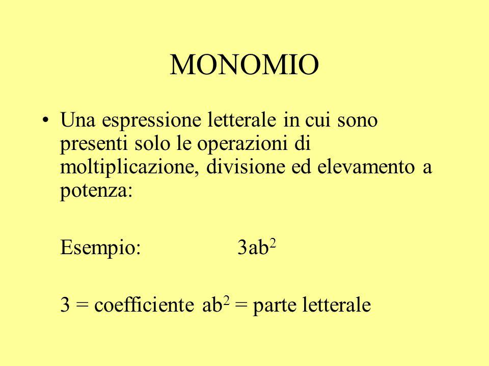 MONOMIO Una espressione letterale in cui sono presenti solo le operazioni di moltiplicazione, divisione ed elevamento a potenza: