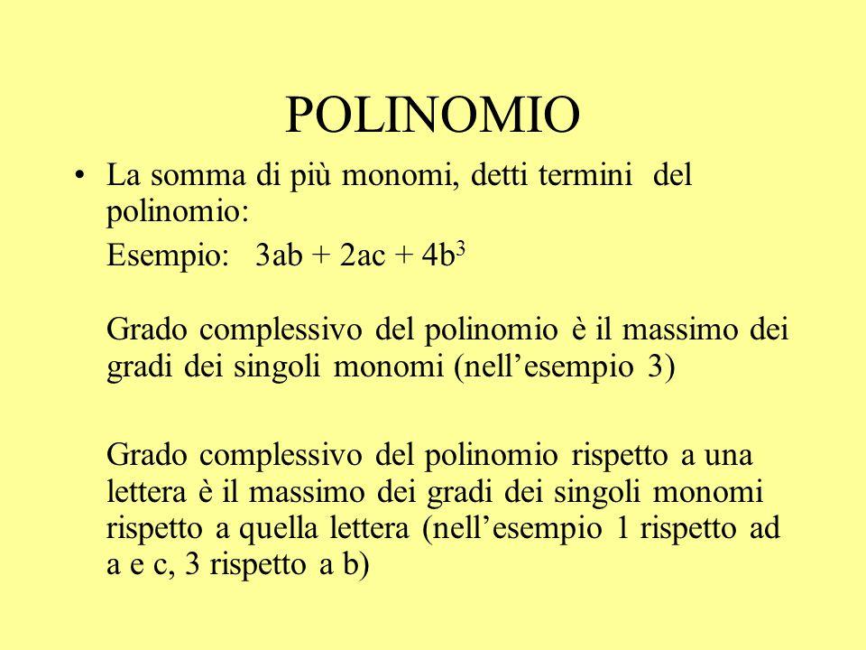 POLINOMIO La somma di più monomi, detti termini del polinomio: