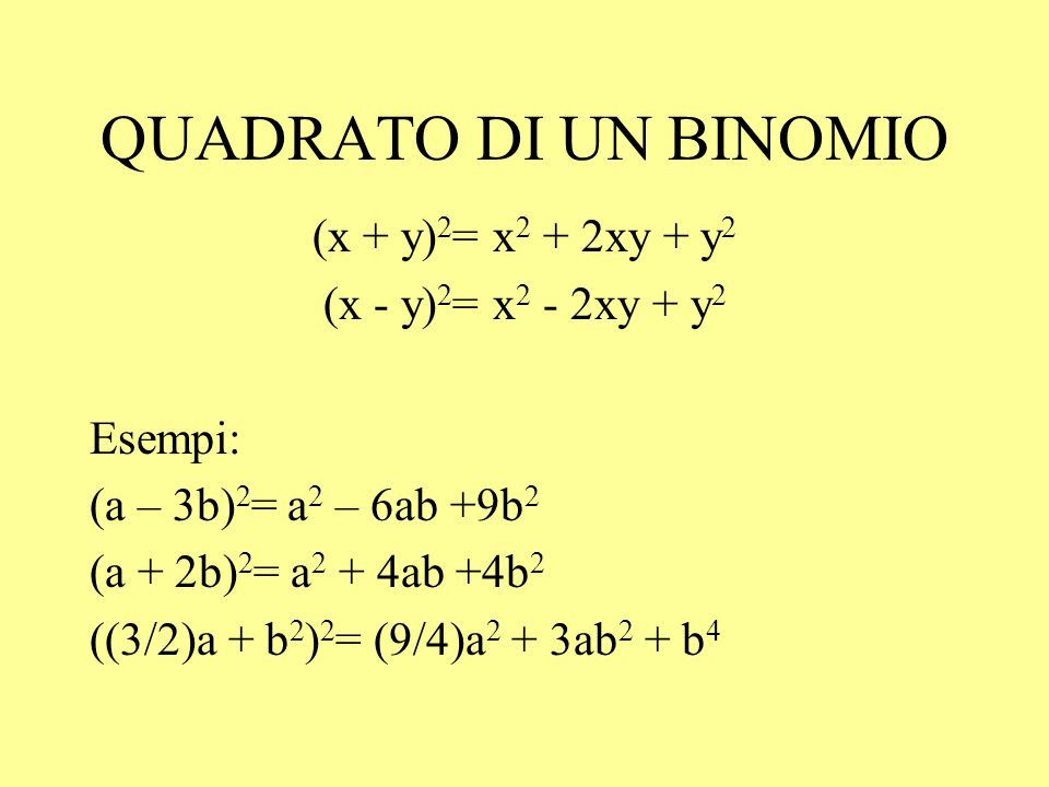 QUADRATO DI UN BINOMIO (x + y)2= x2 + 2xy + y2 (x - y)2= x2 - 2xy + y2