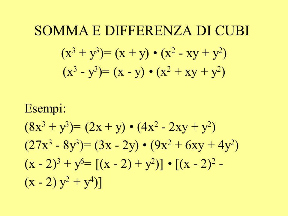 SOMMA E DIFFERENZA DI CUBI